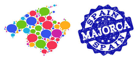 Social network map of Majorca and blue distress stamp seal. Mosaic map of Majorca is composed with word bubbles. Flat design elements for social network applications.