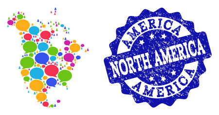 Social network map of North America and blue grunge stamp seal. Mosaic map of North America is created with talk bubbles. Abstract design elements for social network illustrations.