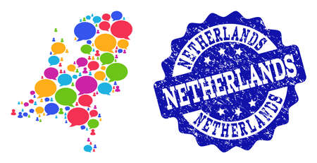 Social network map of Netherlands and blue rubber stamp seal. Mosaic map of Netherlands is formed with conversation bubbles. Abstract design elements for social network purposes.