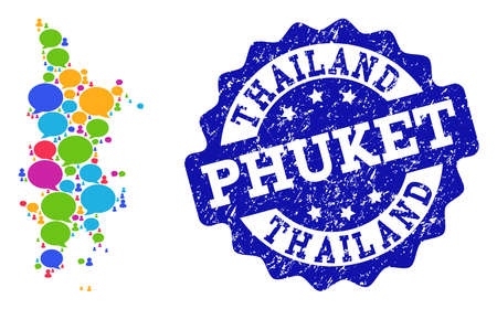 Social network map of Phuket and blue scratched stamp seal. Mosaic map of Phuket is formed with communication clouds. Abstract design elements for social network applications.