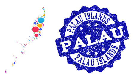 Social network map of Palau Islands and blue rubber stamp seal. Mosaic map of Palau Islands is designed with chat clouds. Flat design elements for social network applications.