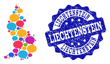 Social network map of Liechtenstein and blue distress stamp seal. Mosaic map of Liechtenstein is created with media messages. Abstract design elements for social network illustrations.