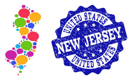 Social network map of New Jersey State and blue grunge stamp seal. Mosaic map of New Jersey State is formed with blog messages. Flat design elements for social network purposes.