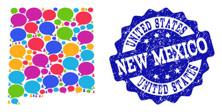 Social network map of New Mexico State and blue distress stamp seal. Mosaic map of New Mexico State is designed with dialog clouds. Flat design elements for social network illustrations.