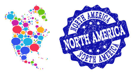 Social network map of North America and blue rubber stamp seal. Mosaic map of North America is created with conversation bubbles. Abstract design elements for social network applications.