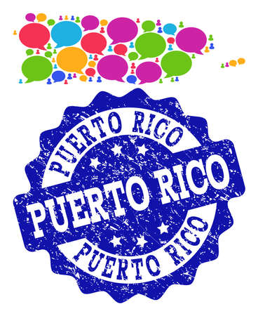 Social network map of Puerto Rico and blue distress stamp seal. Mosaic map of Puerto Rico is created with forum bubbles. Flat design elements for social network projects.