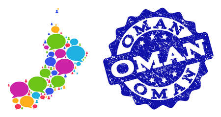 Social network map of Oman and blue rubber stamp seal. Mosaic map of Oman is composed with dialog messages. Abstract design elements for social network purposes.