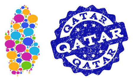 Social network map of Qatar and blue rubber stamp seal. Mosaic map of Qatar is created with word messages. Flat design elements for social network projects.