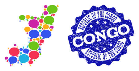 Social network map of Republic of the Congo and blue rubber stamp seal. Mosaic map of Republic of the Congo is composed with speech messages. Abstract design elements for social posters.