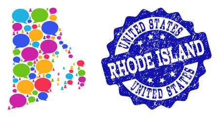Social network map of Rhode Island State and blue scratched stamp seal. Mosaic map of Rhode Island State is designed with conversation clouds.