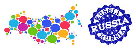 Social network map of Russia and blue rubber stamp seal. Mosaic map of Russia is composed with talk messages. Flat design elements for social network posters.