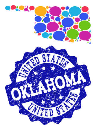 Social network map of Oklahoma State and blue scratched stamp seal. Mosaic map of Oklahoma State is created with tag bubbles. Abstract design elements for social network posters.