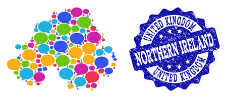 Social network map of Northern Ireland and blue distress stamp seal. Mosaic map of Northern Ireland is designed with comment messages. Abstract design elements for social applications.