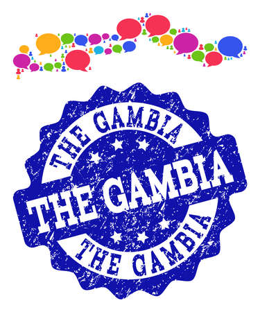 Social network map of the Gambia and blue grunge stamp seal. Mosaic map of the Gambia is designed with voice clouds. Flat design elements for social network projects.