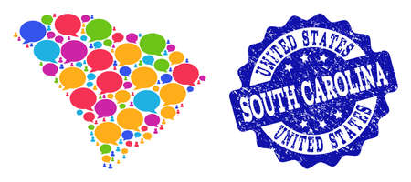 Social network map of South Carolina State and blue distress stamp seal. Mosaic map of South Carolina State is composed with media bubbles. Abstract design elements for social network projects. Illustration