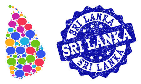 Social network map of Sri Lanka and blue rubber stamp seal. Mosaic map of Sri Lanka is designed with tag bubbles. Abstract design elements for social network posters.