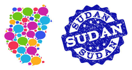 Social network map of Sudan and blue scratched stamp seal. Mosaic map of Sudan is designed with dialog messages. Flat design elements for social network applications.