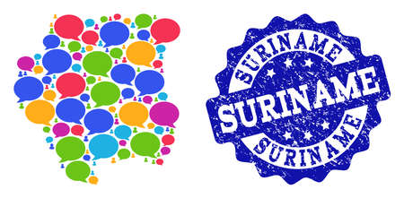 Social network map of Suriname and blue rubber stamp seal. Mosaic map of Suriname is created with word bubbles. Flat design elements for social network posters. Illustration