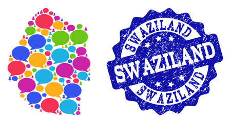 Social network map of Swaziland and blue scratched stamp seal. Mosaic map of Swaziland is designed with dialog bubbles. Abstract design elements for social network posters. Illustration