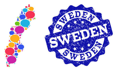Social network map of Sweden and blue distress stamp seal. Mosaic map of Sweden is created with talk clouds. Abstract design elements for social network posters.