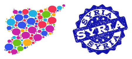 Social network map of Syria and blue rubber stamp seal. Mosaic map of Syria is created with communication messages. Abstract design elements for social projects. Illustration