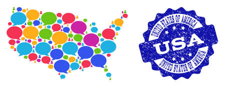 Social network map of USA and blue scratched stamp seal. Mosaic map of USA is composed with forum messages. Flat design elements for social network illustrations.