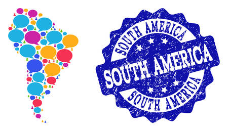 Social network map of South America and blue rubber stamp seal. Mosaic map of South America is formed with speech bubbles. Abstract design elements for social network applications. Illustration