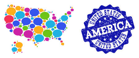 Social network map of USA and Alaska and blue scratched stamp seal. Mosaic map of USA and Alaska is designed with chat bubbles. Abstract design elements for social network illustrations.
