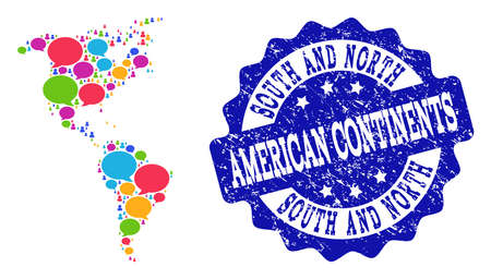 Social network map of South and North America and blue distress stamp seal. Mosaic map of South and North America is composed with speak bubbles. Flat design elements for social network purposes. Illustration