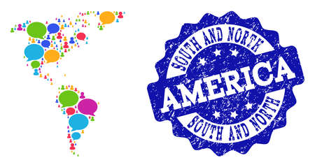Social network map of South and North America and blue scratched stamp seal. Mosaic map of South and North America is created with communication bubbles.