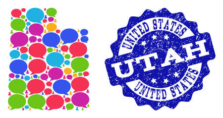 Social network map of Utah State and blue distress stamp seal. Mosaic map of Utah State is designed with blog bubbles. Flat design elements for social network posters.