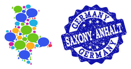Social network map of Saxony-Anhalt State and blue scratched stamp seal. Mosaic map of Saxony-Anhalt State is created with discussion bubbles. Flat design elements for social network applications. Illustration