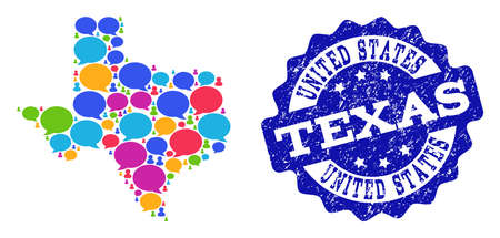 Social network map of Texas State and blue distress stamp seal. Mosaic map of Texas State is created with dialog clouds. Abstract design elements for social network illustrations.
