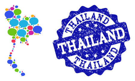Social network map of Thailand and blue scratched stamp seal. Mosaic map of Thailand is created with speak bubbles. Abstract design elements for social network applications. Illustration