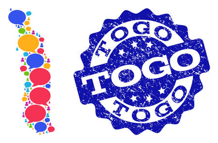 Social network map of Togo and blue scratched stamp seal. Mosaic map of Togo is designed with blog messages. Abstract design elements for social network projects. Illustration