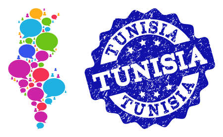 Social network map of Tunisia and blue scratched stamp seal. Mosaic map of Tunisia is designed with blog messages. Flat design elements for social network purposes. Illustration