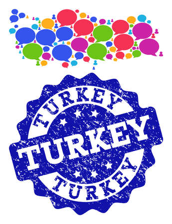 Social network map of Turkey and blue rubber stamp seal. Mosaic map of Turkey is designed with talk bubbles. Flat design elements for social network purposes. Illustration