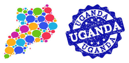 Social network map of Uganda and blue rubber stamp seal. Mosaic map of Uganda is composed with speech messages. Flat design elements for social network posters.