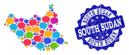 Social network map of South Sudan and blue distress stamp seal. Mosaic map of South Sudan is designed with speech clouds. Abstract design elements for social network purposes.