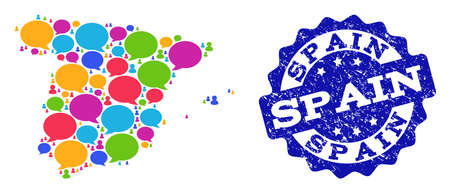 Social network map of Spain and blue distress stamp seal. Mosaic map of Spain is created with comment bubbles. Abstract design elements for social network illustrations. Illustration