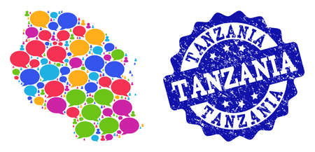 Social network map of Tanzania and blue rubber stamp seal. Mosaic map of Tanzania is created with chat messages. Abstract design elements for social network projects.