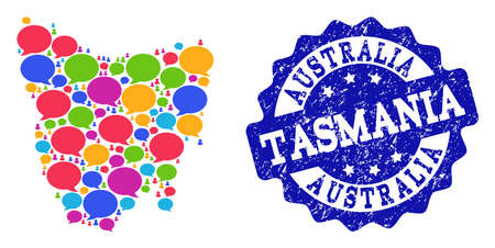 Social network map of Tasmania Island and blue rubber stamp seal. Mosaic map of Tasmania Island is designed with discussion bubbles. Abstract design elements for social network illustrations.