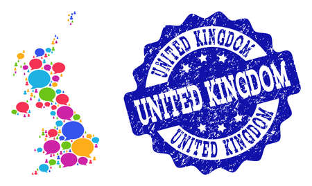 Social network map of United Kingdom and blue scratched stamp seal. Mosaic map of United Kingdom is designed with tag messages. Abstract design elements for social illustrations.