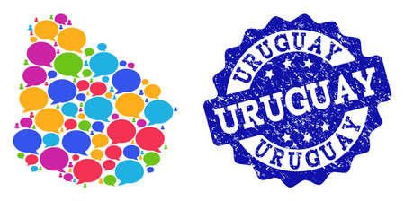 Social network map of Uruguay and blue grunge stamp seal. Mosaic map of Uruguay is created with chat bubbles. Flat design elements for social network illustrations.