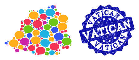 Social network map of Vatican and blue rubber stamp seal. Mosaic map of Vatican is composed with comment messages. Flat design elements for social network posters.