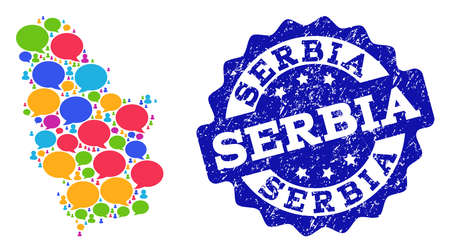 Social network map of Serbia and blue distress stamp seal. Mosaic map of Serbia is created with word messages. Abstract design elements for social network illustrations. Ilustração