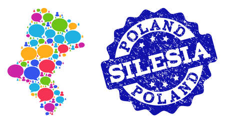 Social network map of Silesia Voivodeship and blue distress stamp seal. Mosaic map of Silesia Voivodeship is created with tag messages. Abstract design elements for social network purposes.