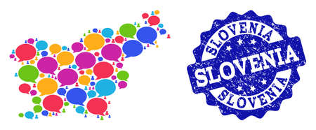 Social network map of Slovenia and blue grunge stamp seal. Mosaic map of Slovenia is composed with tag clouds. Flat design elements for social network projects. Illustration