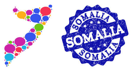 Social network map of Somalia and blue distress stamp seal. Mosaic map of Somalia is designed with blog messages. Abstract design elements for social network purposes.