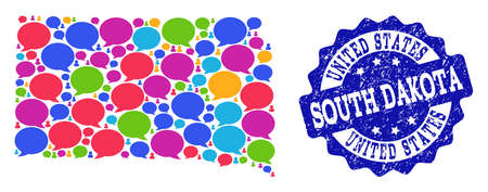 Social network map of South Dakota State and blue grunge stamp seal. Mosaic map of South Dakota State is designed with conversation messages. Abstract design elements for social network applications. Illustration
